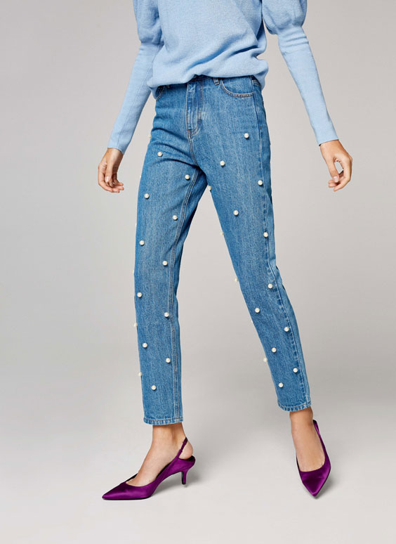 Mom fit jeans with faux pearls