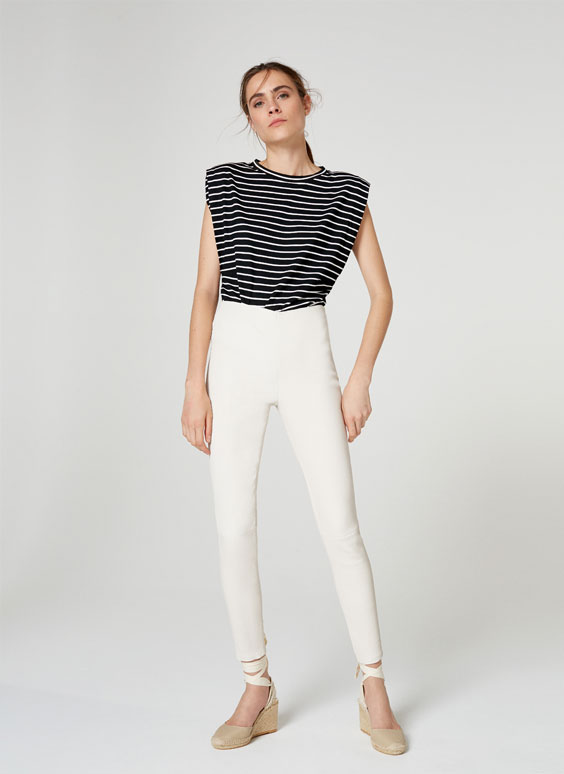 White nappa leggings