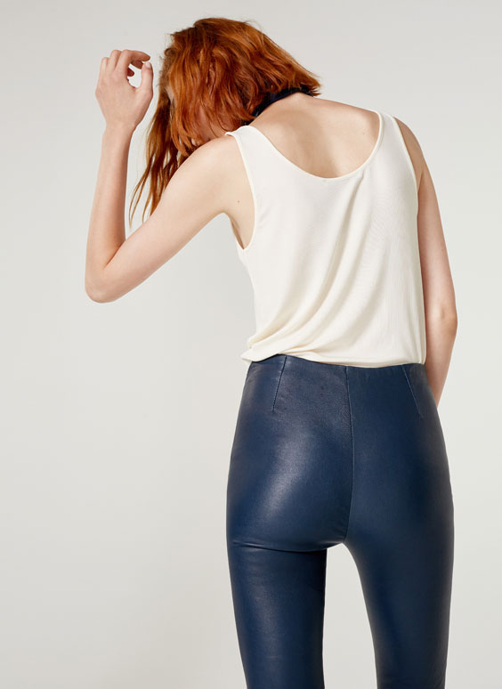 Blue nappa leggings