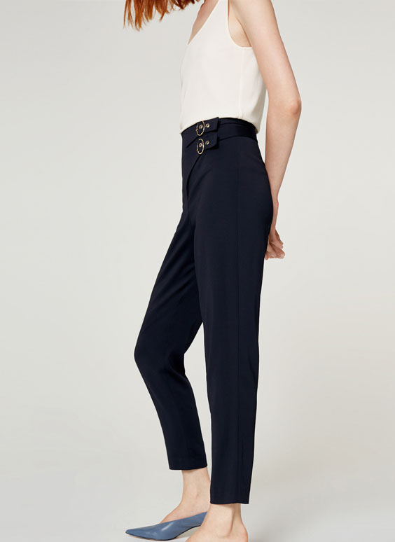 Trousers with double buckle
