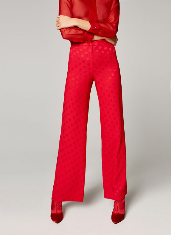 Red pyjama-style trousers