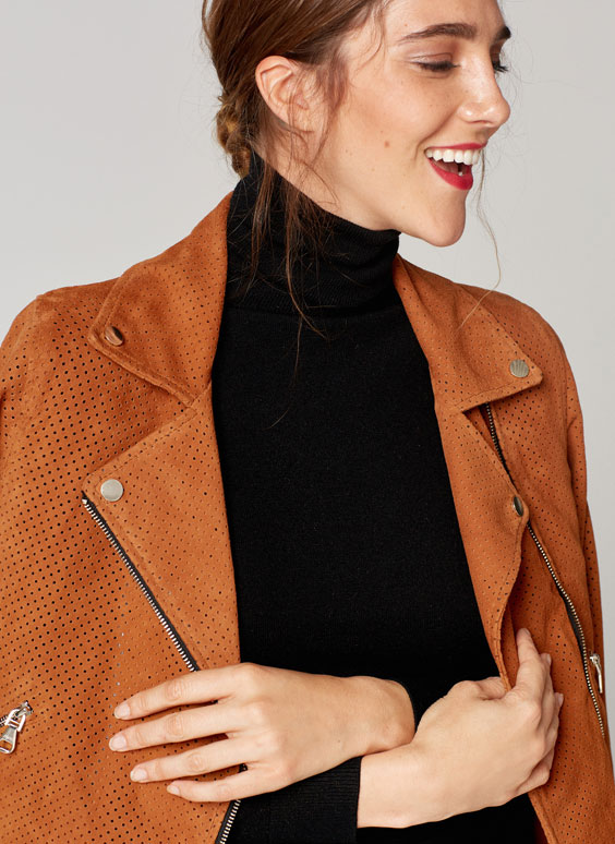 Die-cut leather jacket