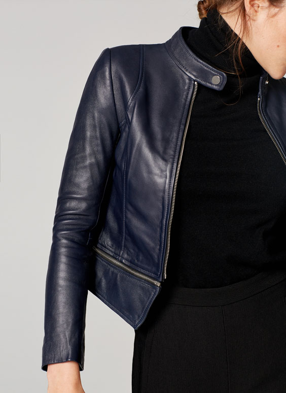 Navy blue leather jacket with removable zip bottom