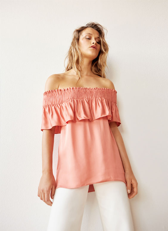 Coral off-the-shoulder top