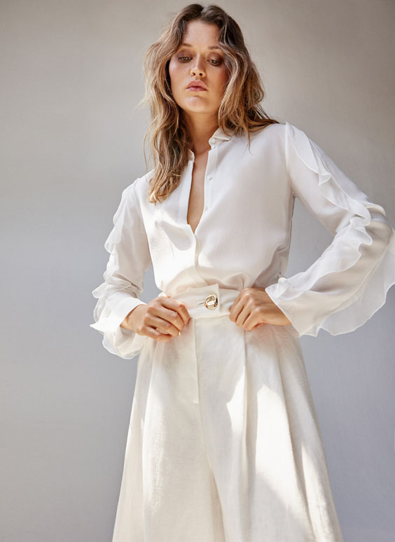 Silk shirt with ruffled sleeves