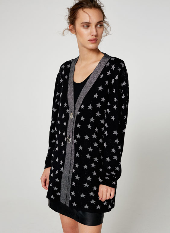 Jacket with silver star jacquard pattern