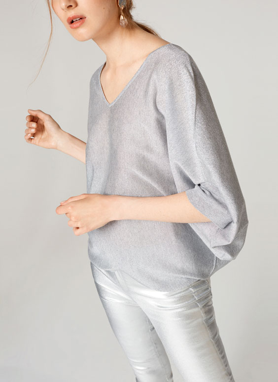 Geometric sweater with shimmer