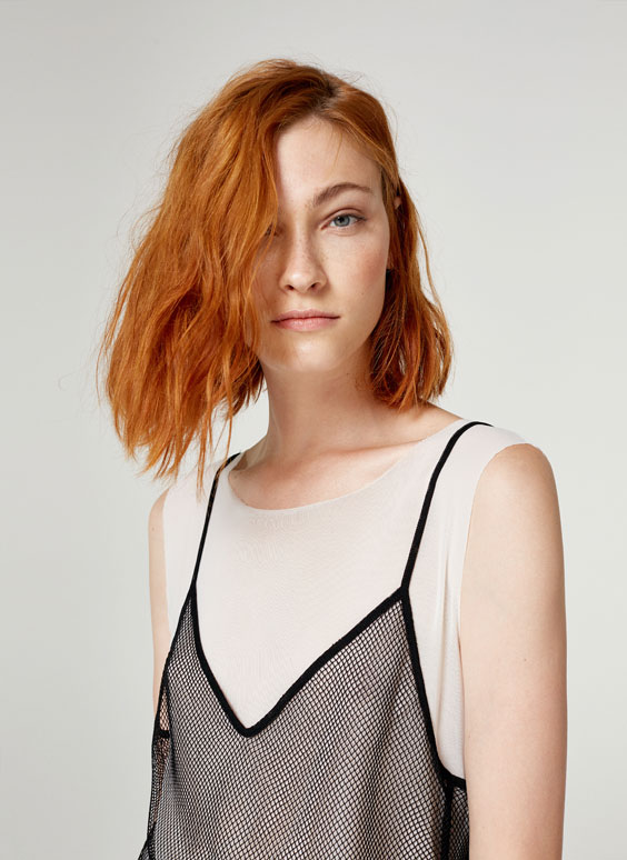 T-shirt with mesh top