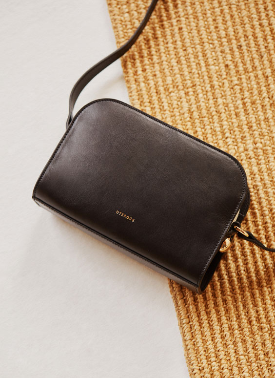 Polished leather crossbody bag