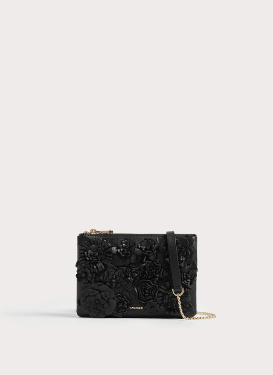 Floral leather crossbody bag