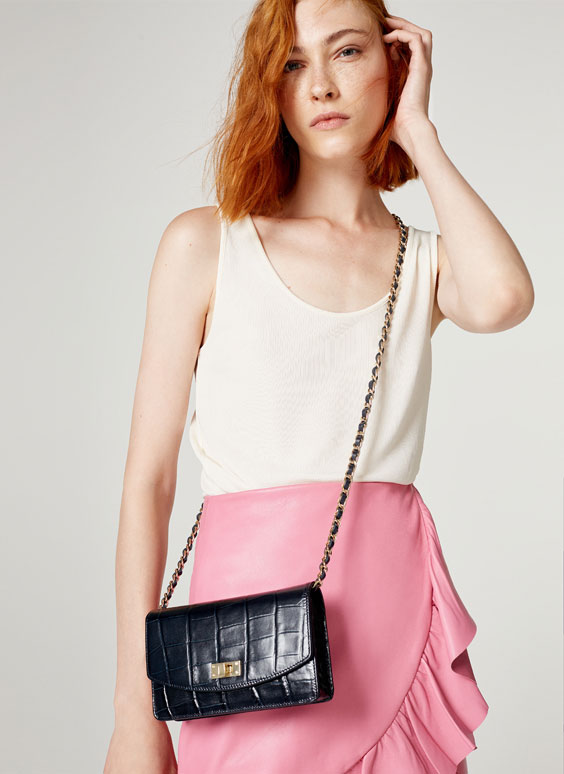 Mock crock crossbody bag