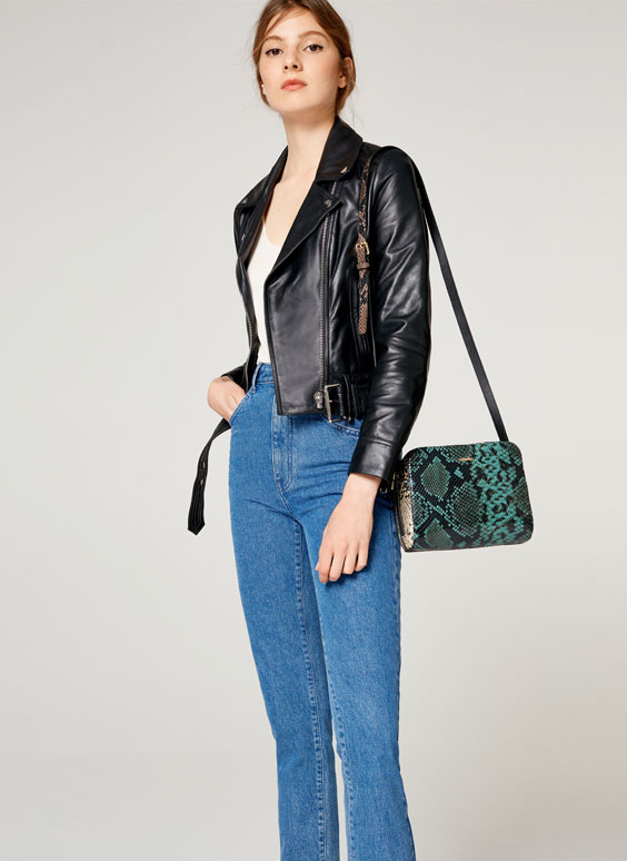 Three-tone faux snakeskin leather crossbody bag