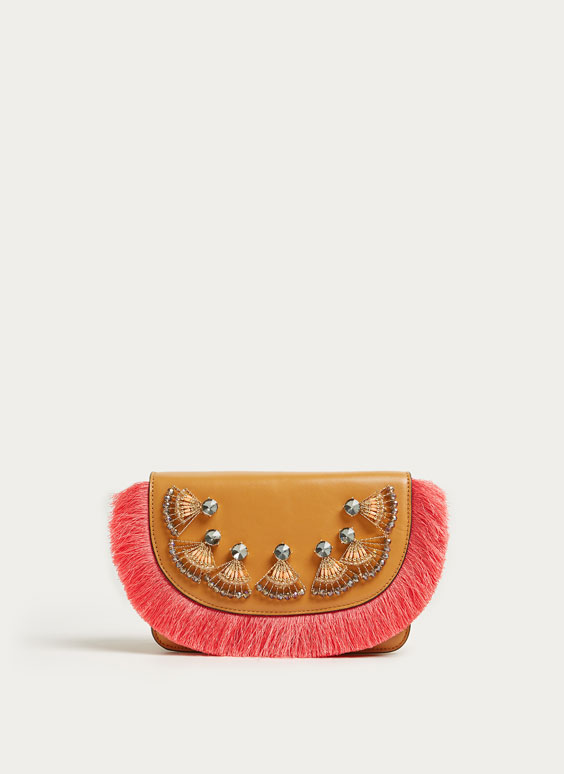 Leather bag with fringe