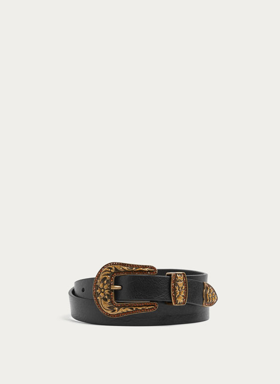 Belt with floral buckle
