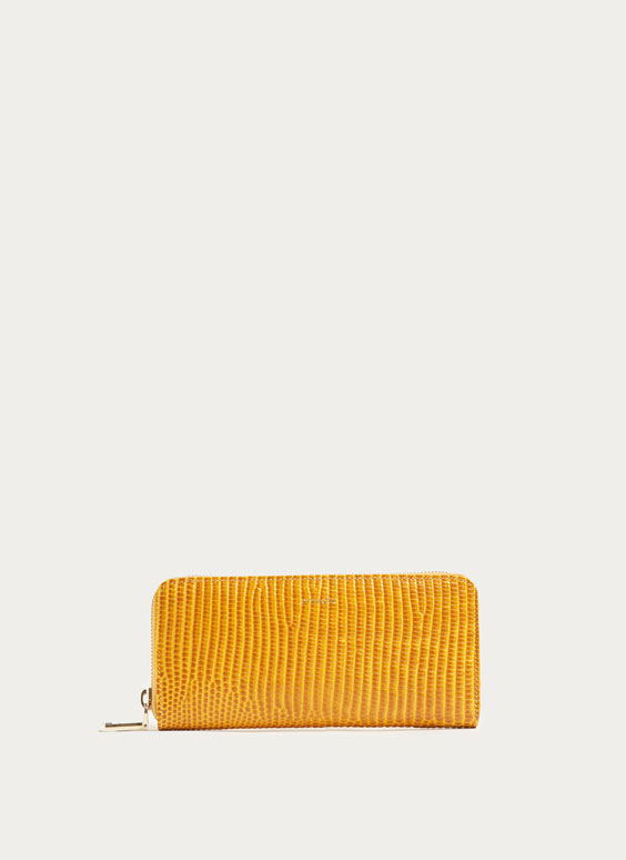 Mustard yellow leather wallet