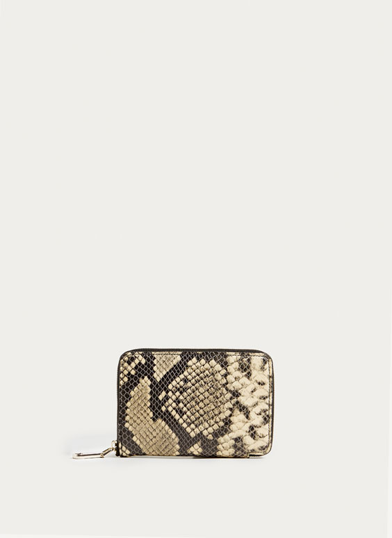 Snakeskin-effect leather wallet