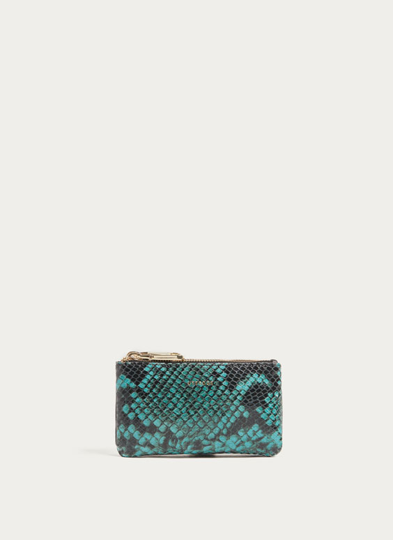 Double coin purse with faux snakeskin finish