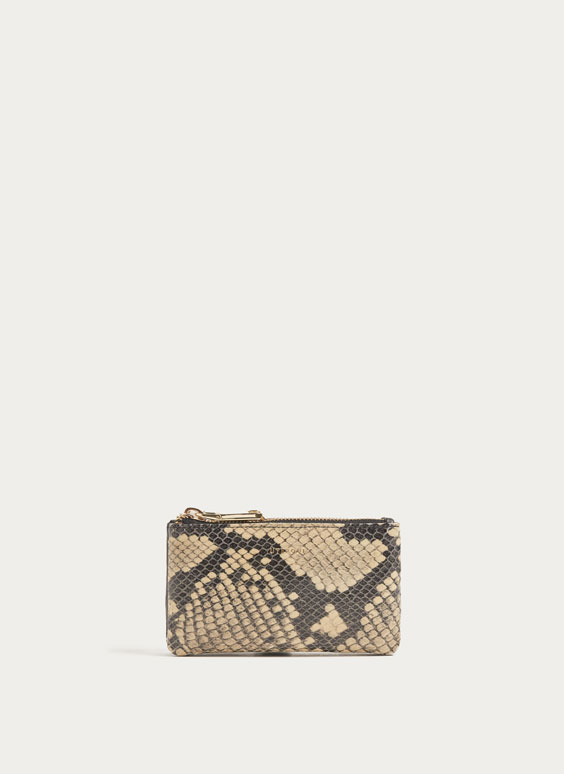 Snakeskin-effect double coin purse