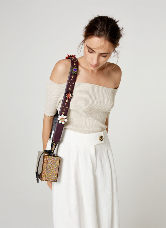 Embellished floral leather strap