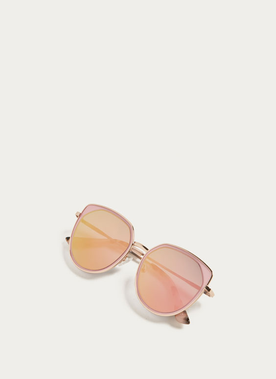 Pink metal sunglasses with mirror lenses