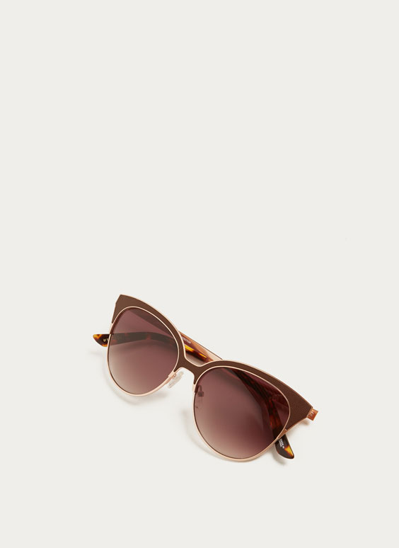 Cat eye sunglasses with leather detail