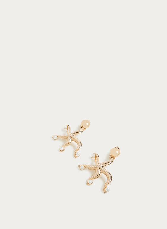 Long starfish-shaped earrings