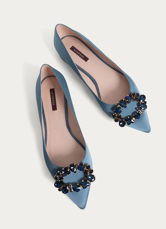 Embellished blue ballerinas