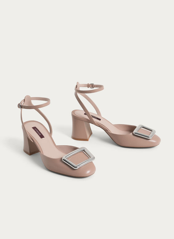 Buckled leather slingback shoes