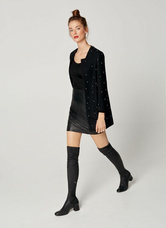 Black high-heel knee-high boots
