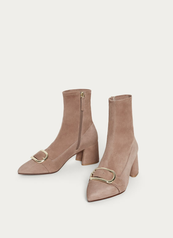 Elastic suede ankle boots