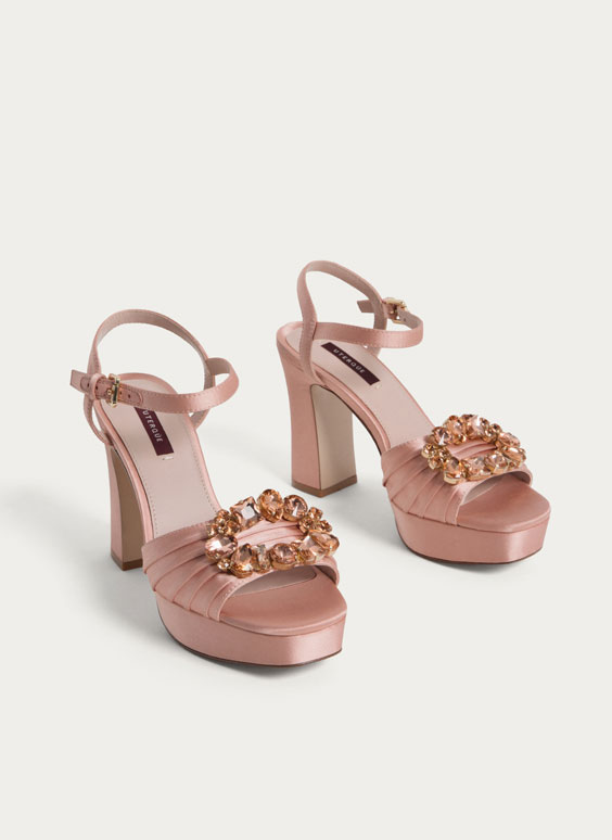Satin sandals with gem detail