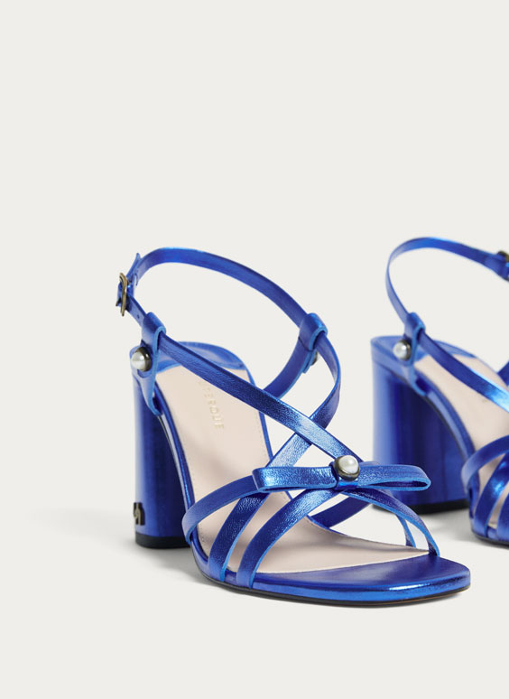 Blue sandals with laminated straps