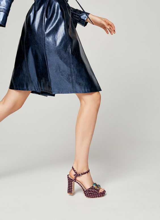 Polka dot high heel sandals