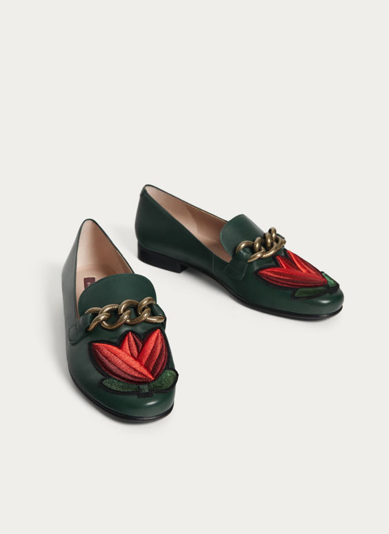 Embroidered tulip loafers