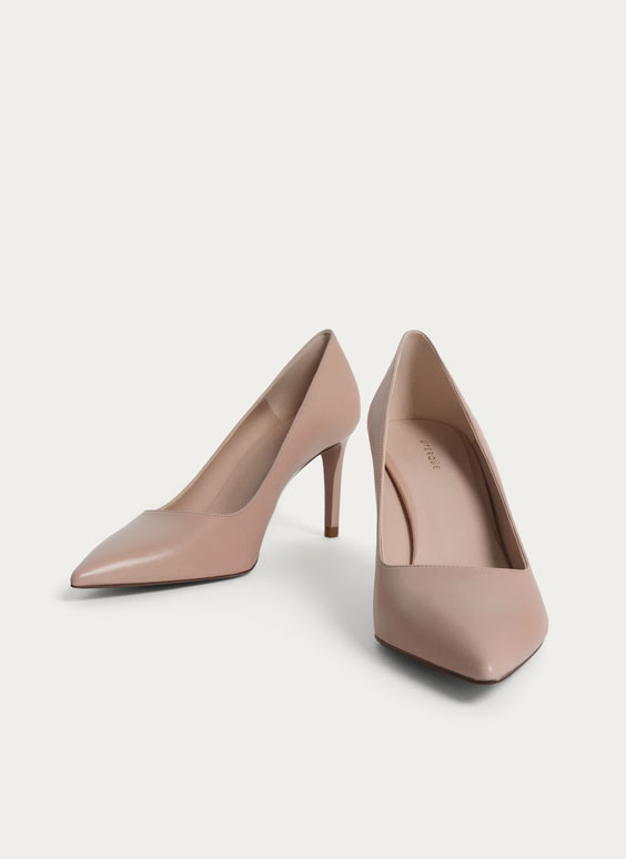 Nude leather court shoes