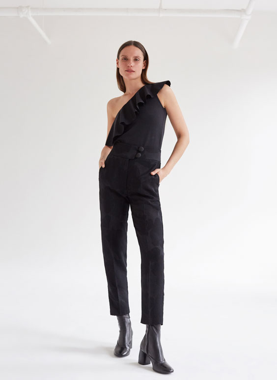Flowing jacquard trousers