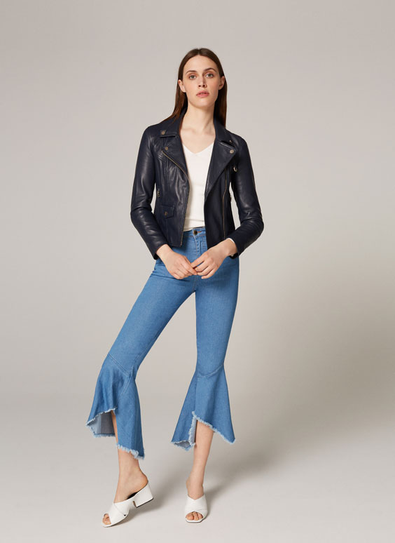 Blue leather crossover jacket