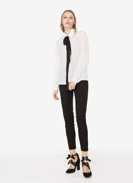 Silk shirt with puff sleeves