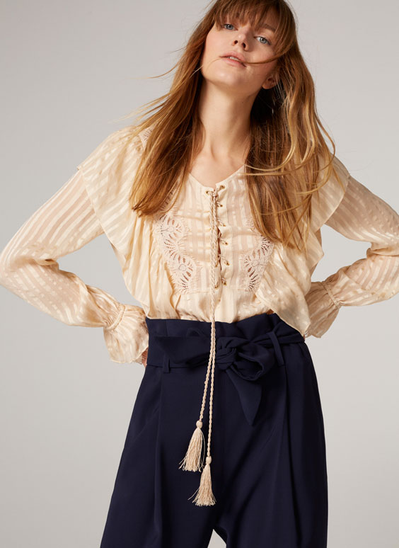 Silk lace blouse with bow