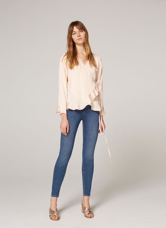Frilled crossover blouse