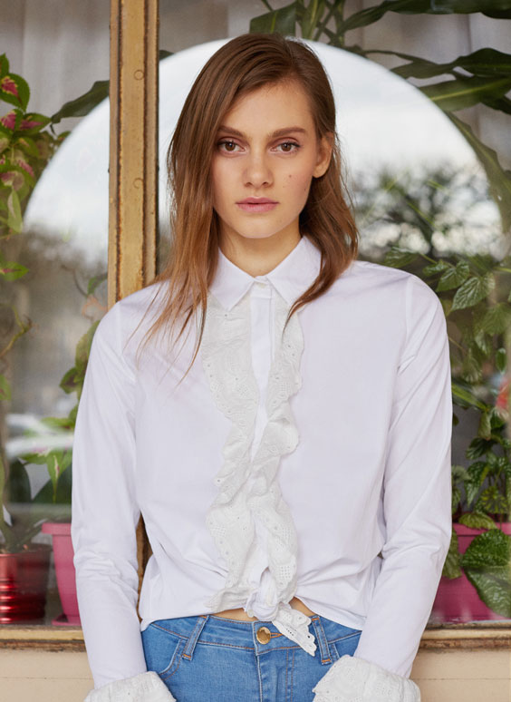 Shirt with embroidered detail