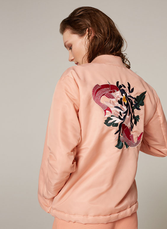 Bomber jacket with back embroidery