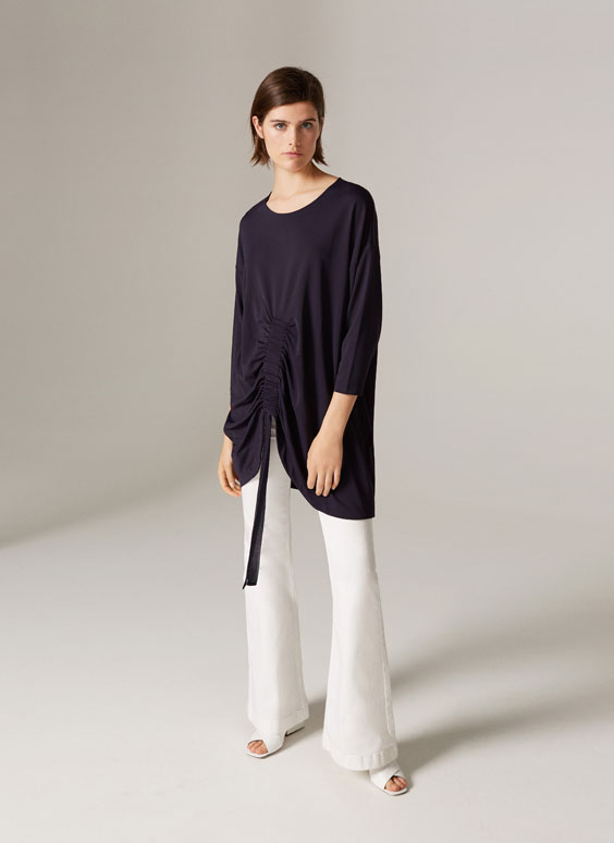 Shirt with gathered front
