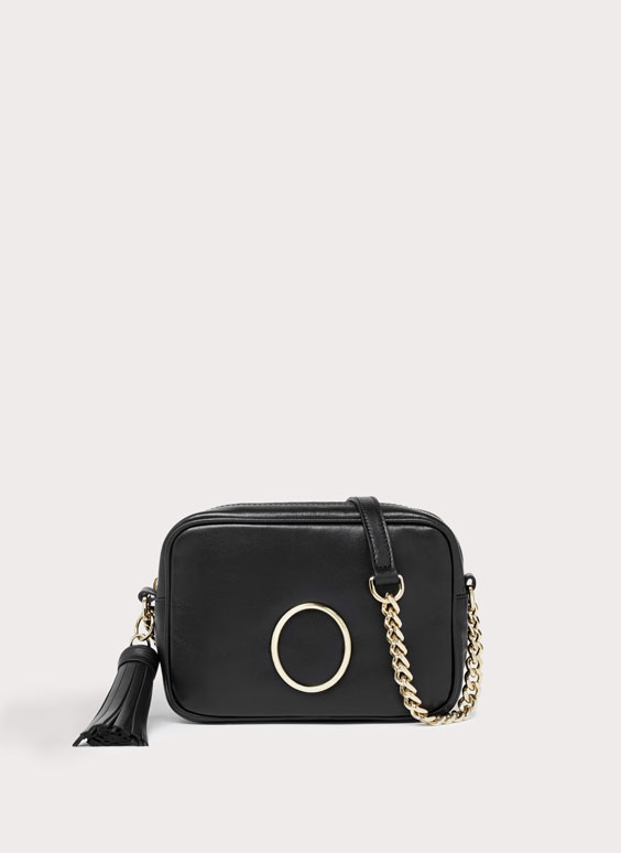 Leather crossbody bag with tassel and buckle