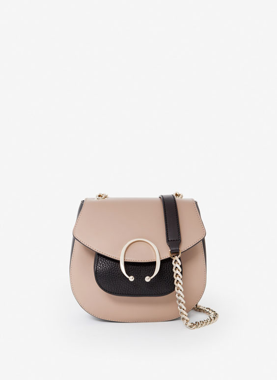 Leather cross-body bag with pocket