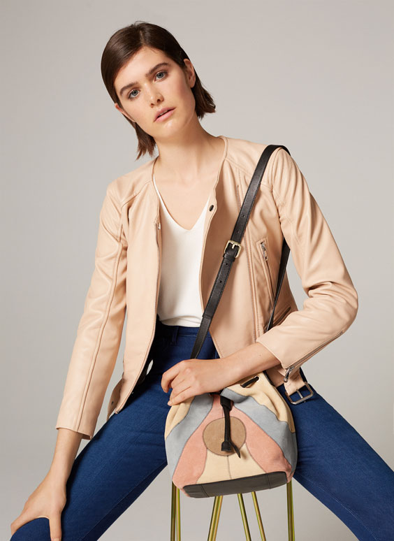 Leather bucket bag with patch