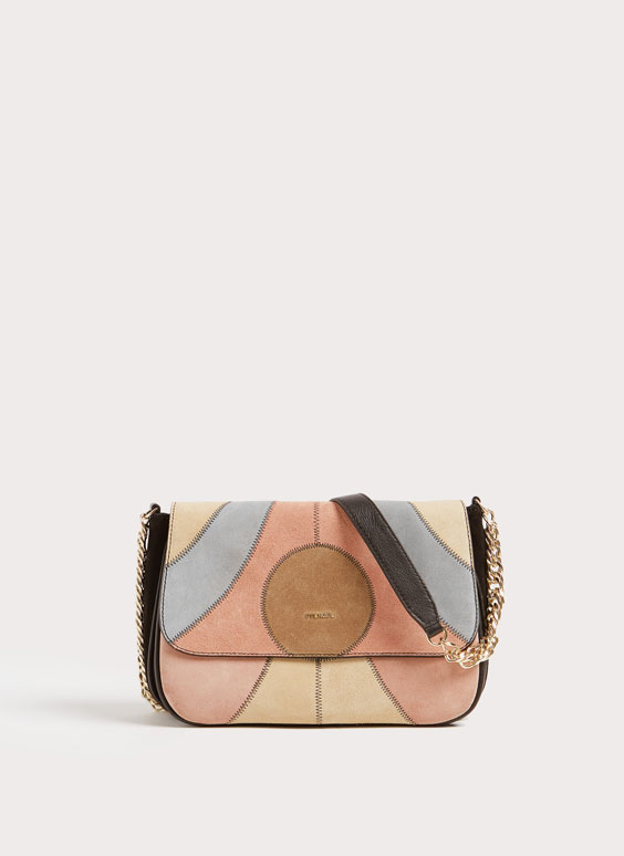 Leather crossbody bag with patch