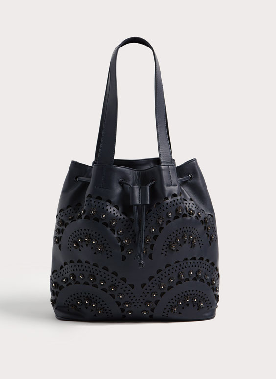 Large cut-out leather bucket bag with flowers