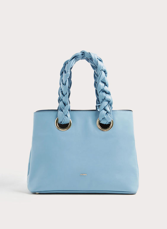 Tote with plaited handle