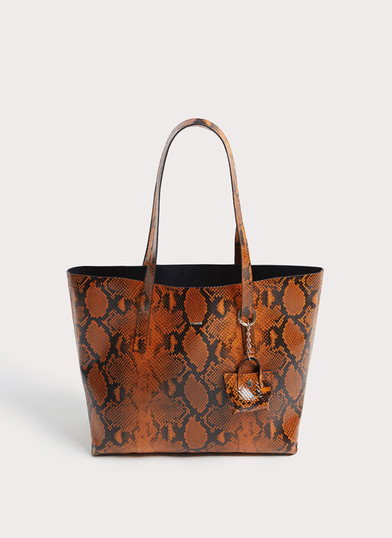 Snakeskin-effect tote bag with interior bag